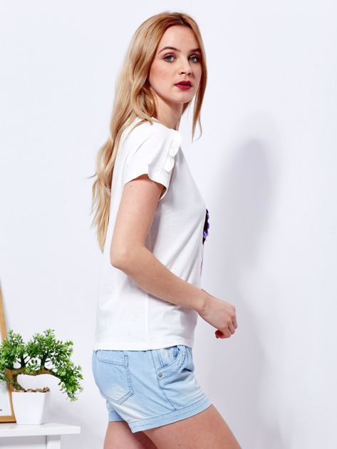 T-shirt ecru z cekinowym flamingiem                              zdj.                              3