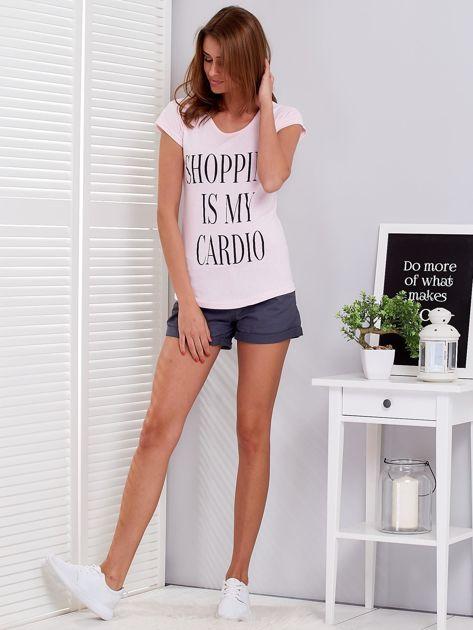 T-shirt jasnoróżowy SHOPPING IS MY CARDIO                              zdj.                              4