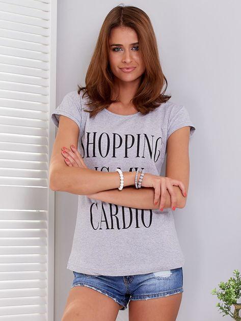 T-shirt jasnoszary SHOPPING IS MY CARDIO                              zdj.                              1