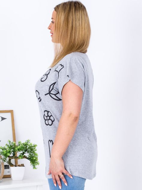 T-shirt jasnoszary z nadrukiem PLUS SIZE                                  zdj.                                  3