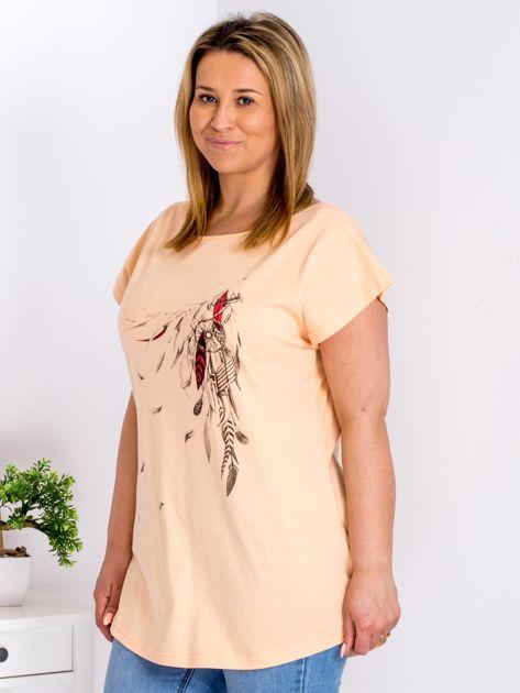 T-shirt pomarańczowy z nadrukiem boho PLUS SIZE                              zdj.                              5