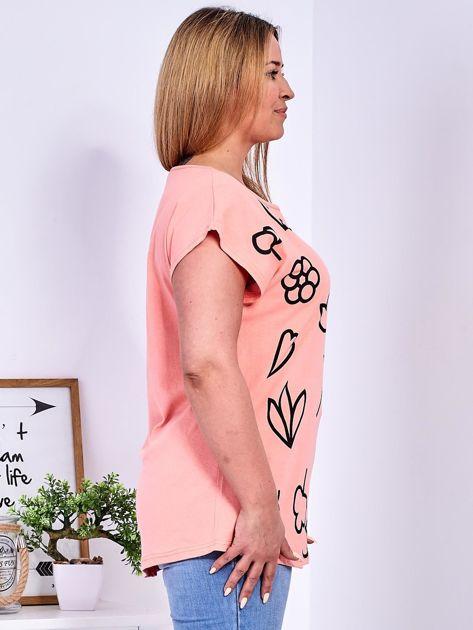 T-shirt różowy z nadrukiem PLUS SIZE                                  zdj.                                  3