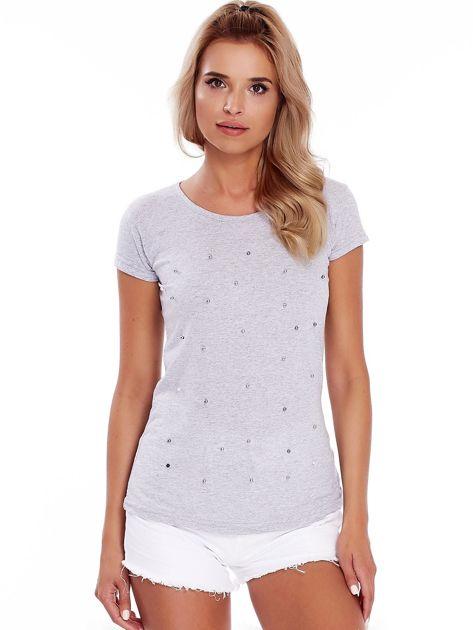 T-shirt szary z perełkami                              zdj.                              1