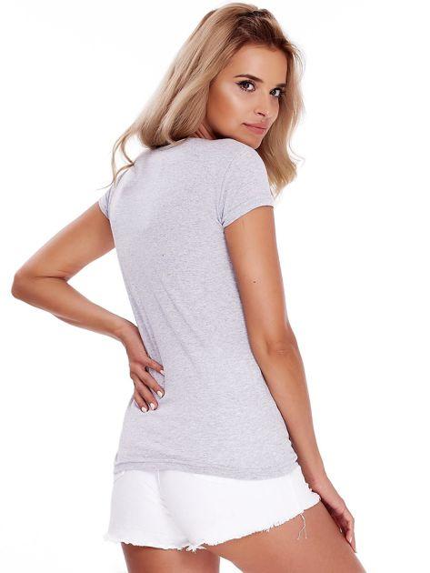 T-shirt szary z perełkami                              zdj.                              2