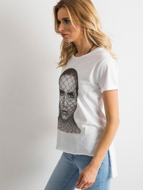 T-shirt z bawełny biały                              zdj.                              2