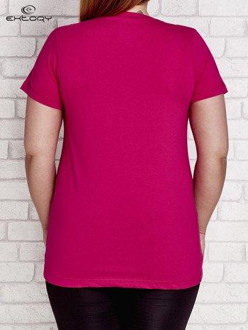 T-shirt z kieszonką fuksjowy PLUS SIZE