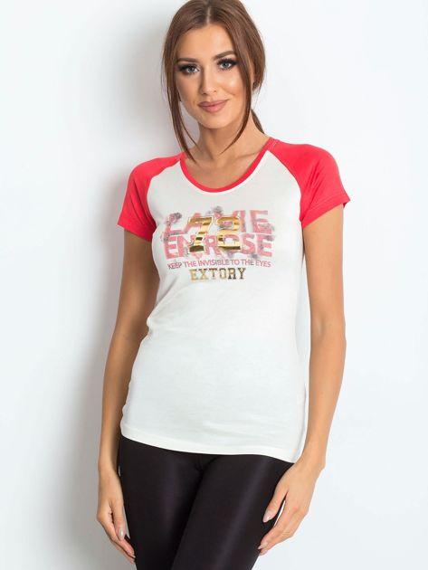 T-shirt z liczbą 72 ciemnokoralowy                              zdj.                              1