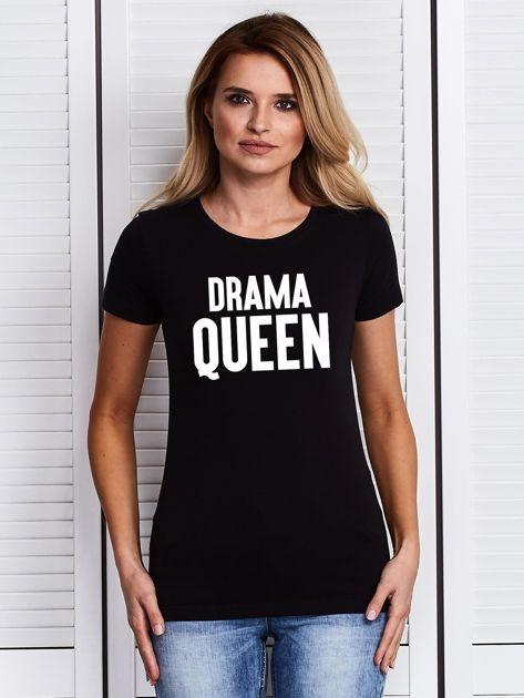 T-shirt z nadrukiem DRAMA QUEEN czarny                              zdj.                              1