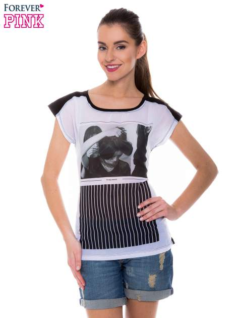 T-shirt z nadrukiem monochromatycznym                                  zdj.                                  1