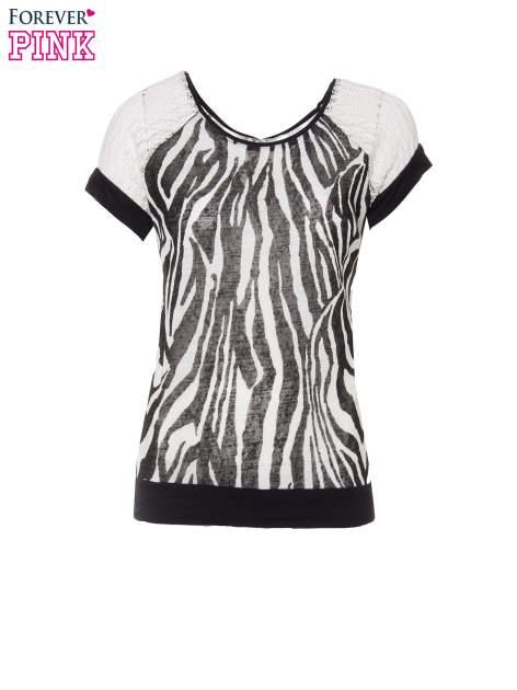T-shirt z nadrukiem zebry i ażurowymi rękawami                                  zdj.                                  2