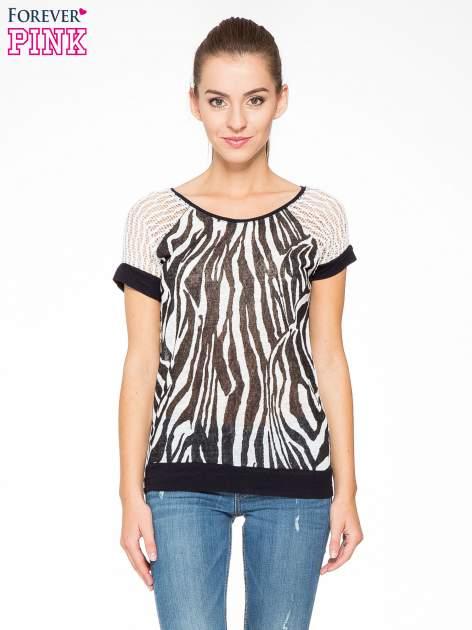T-shirt z nadrukiem zebry i ażurowymi rękawami                                  zdj.                                  1