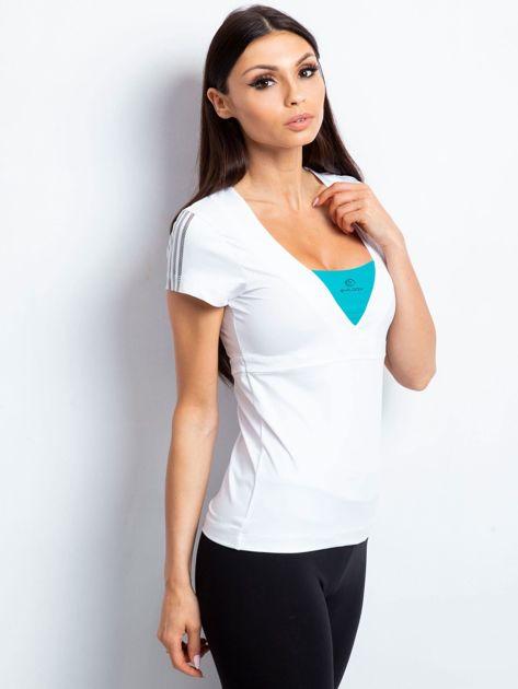 T-shirt z wycięciem na plecach biało-zielony