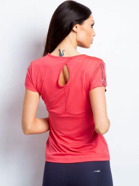 T-shirt z wycięciem na plecach koralowy                              zdj.                              2