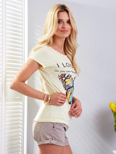 T-shirt żółty z motylem                              zdj.                              2