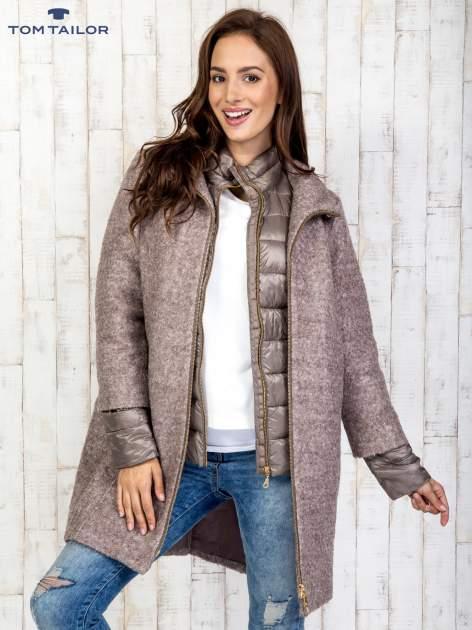 TOM TAILOR Brązowy dwuczęściowy płaszcz z kurtką pikowaną                                  zdj.                                  3