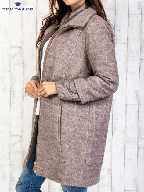 TOM TAILOR Brązowy dwuczęściowy płaszcz z kurtką pikowaną                                  zdj.                                  4