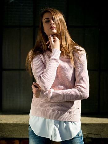 TOM TAILOR Brzoskwiniowy sweter z koszulą                                  zdj.                                  11