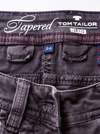 TOM TAILOR Ciemnoszare spodnie regular jeans z przeszyciami                                  zdj.                                  5
