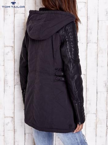 TOM TAILOR Czarna kurtka ze skórzanymi rękawami                                  zdj.                                  2