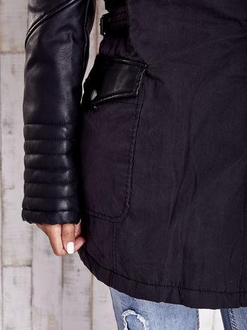 TOM TAILOR Czarna kurtka ze skórzanymi rękawami                                  zdj.                                  10