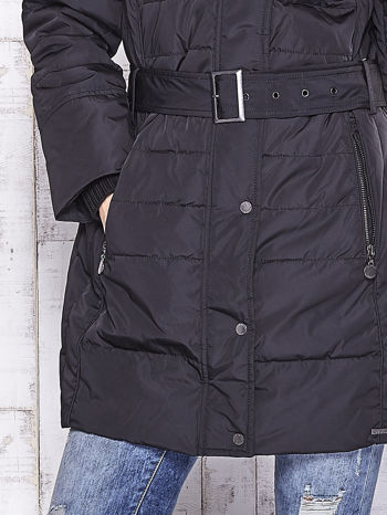 TOM TAILOR Czarny ocieplany płaszcz z paskiem                                  zdj.                                  8
