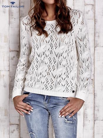 TOM TAILOR Ecru ażurowy sweter                                  zdj.                                  1