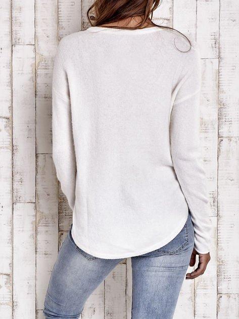 TOM TAILOR Ecru gładki wełniany sweter                                  zdj.                                  2
