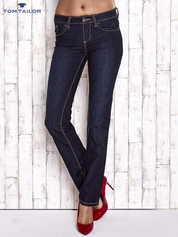TOM TAILOR Granatowe spodnie jeansowe z prostą nogawką                                  zdj.                                  1