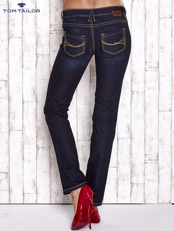 TOM TAILOR Granatowe spodnie jeansowe z prostą nogawką                                  zdj.                                  2