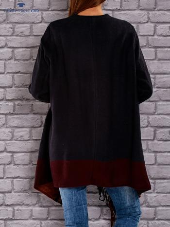 TOM TAILOR Granatowy sweter poncho z frędzlami