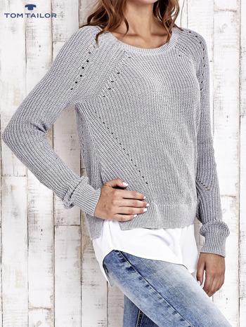 TOM TAILOR Szary sweter z koszulą                                  zdj.                                  4