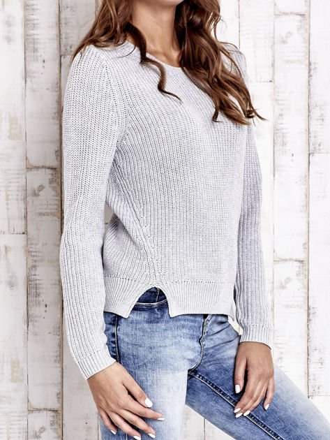 TOM TAILOR Szary sweter z rozcięciami