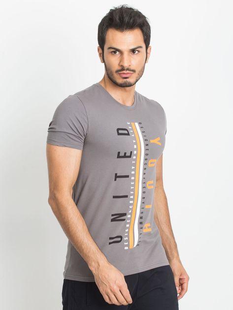 TOMMY LIFE Ciemnoszary męski t-shirt z nadrukiem