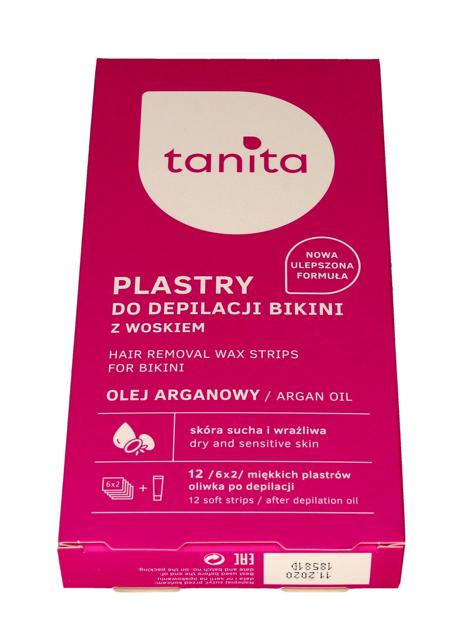 """Tanita Plastry z woskiem do depilacji bikini z olejem arganowym  1op.-12szt"""""""