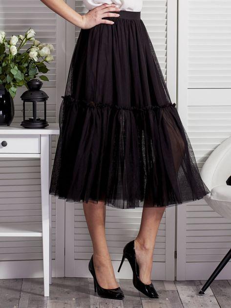 Tiulowa warstwowa spódnica damska czarna                              zdj.                              5