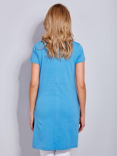 Tunika bawełniana SIMPLICITY z nadrukiem niebieska                                  zdj.                                  3