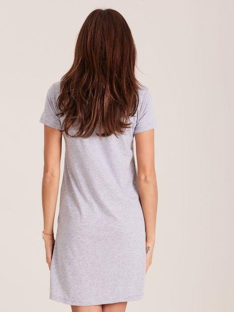 Tunika bawełniana jasnoszara z nadrukiem w stylu fashion                                  zdj.                                  3