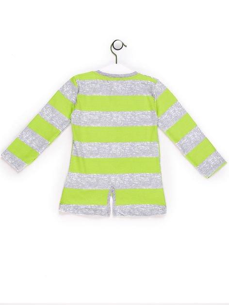 Tunika dla dziewczynki w paski z sercem zielona