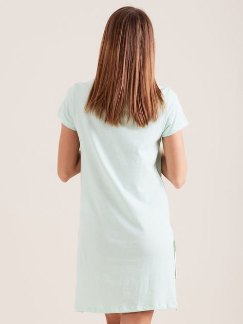 Bawełniana koszula nocna z napisem miętowa                              zdj.                              2