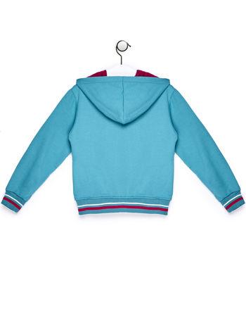 Turkusowa bluza dla dziewczynki z naszywkami i napisem