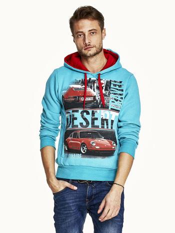 Turkusowa bluza męska z samochodowym nadrukiem                                  zdj.                                  1
