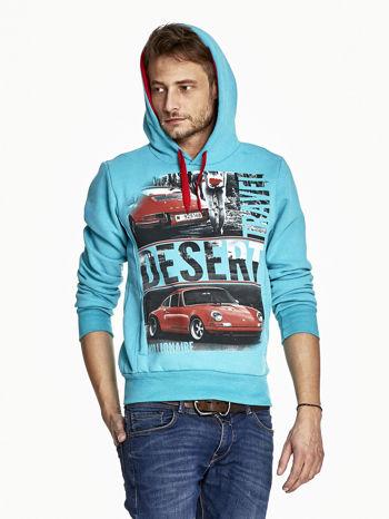 Turkusowa bluza męska z samochodowym nadrukiem                              zdj.                              5