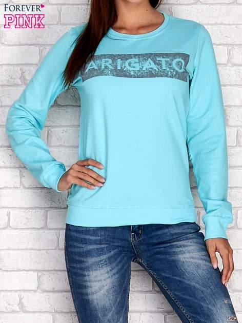 Turkusowa bluza z napisem ARIGATO