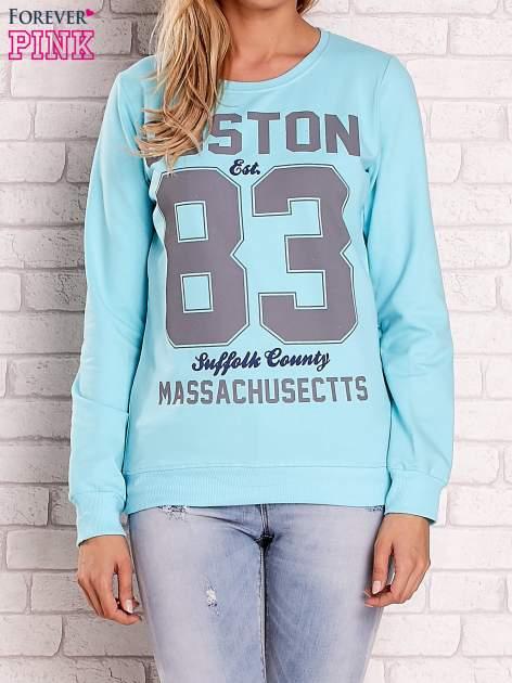 Turkusowa bluza z napisem BOSTON 83                                  zdj.                                  1