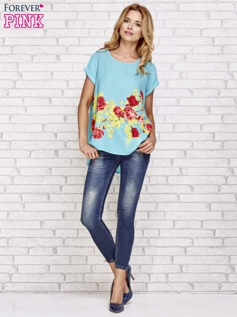 Turkusowa koszula z motywem kwiatów                                  zdj.                                  2