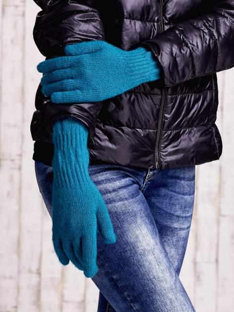 Turkusowe długie rękawiczki z fantazyjnie przeszywanym ściągaczem                                  zdj.                                  3