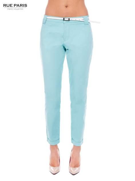 Turkusowe eleganckie spodnie damskie z paskiem