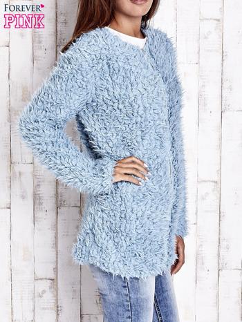 Turkusowy futrzany sweter kurtka na suwak                                  zdj.                                  5