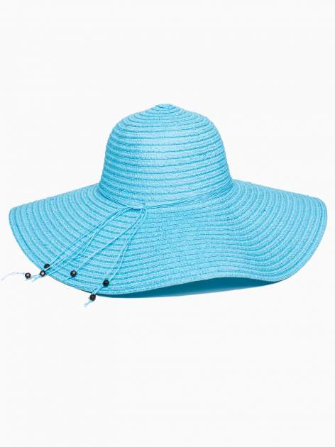 Turkusowy kapelusz słomiany z dużym rondem i kwiatkami                                  zdj.                                  5