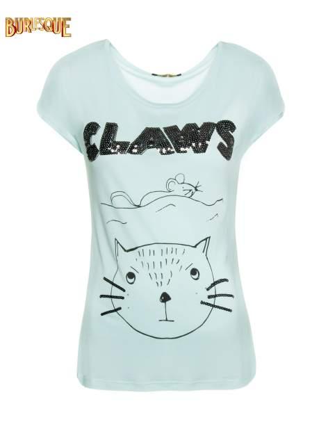Turkusowy t-shirt z nadrukiem kota i myszy                                  zdj.                                  1